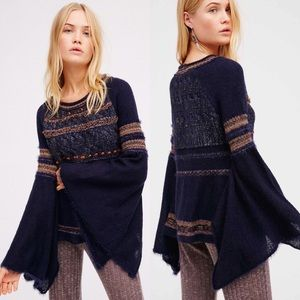 FREE PEOPLE Navy Blue Craft Time Sweater
